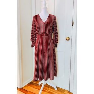 Lulu's | Red & White Striped Button Down Dress